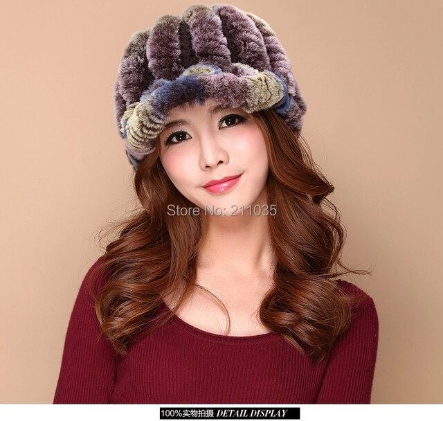Nueva Genuina Del Conejo Rex Fur Punto Hat Chapeau Raya Del Dedo Del Pie Forro de lana de Piel de Las Mujeres Beanie Cap Sombrero de Piel Natural de La Muchacha sombreros