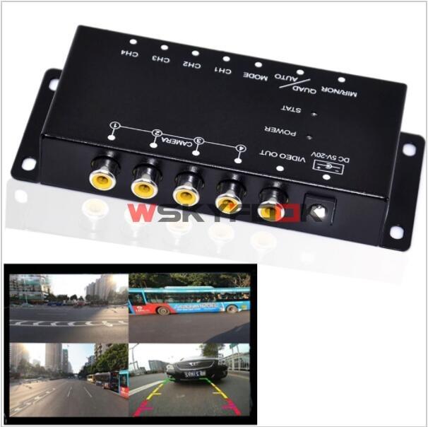 4PCS 360 View Car Camera IR Remote Control 4 Way Cameras Combiner