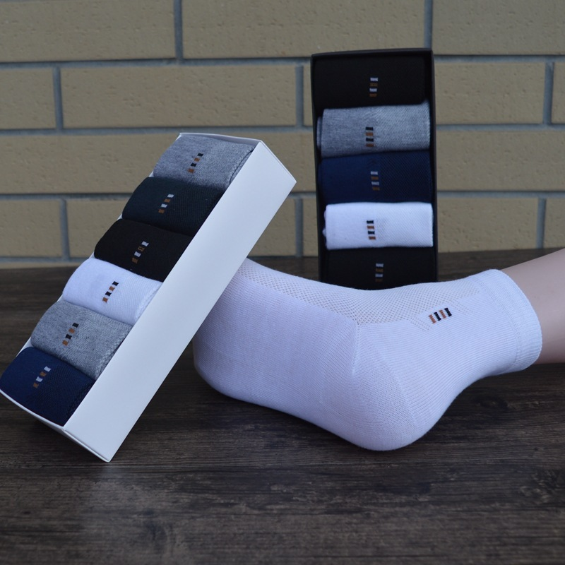 Brand New Men Breathable Socks High Quality Casual Anti-Bacterial Man Summer Thin Socks 6pairs / lot Calcetines Hombre With Box