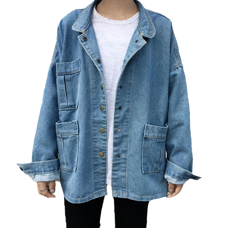 2019 Spring Vintage Women   Basic   Coats Casual Big pocket Denim   Jackets   Long Sleeve Loose Jeans   Jacket   Female Coat new Y063