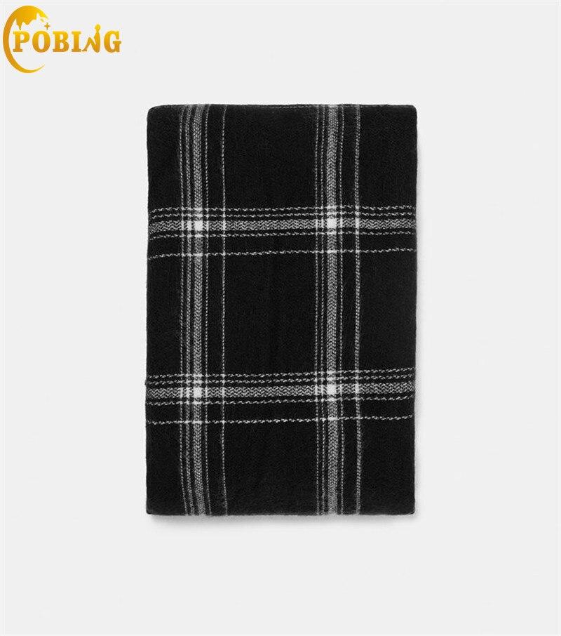 POBING Luxury za Brand Plaid Cashmere   Scarf   Women   Scarves     Wraps   Basic Unisex Shawl Warm Winter Blanket Pashmina Lady Cape Stole