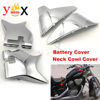 1Set ABS Chrome Front Cowl Neck Guard & Battery Cover Side Faring Panel Frame For Honda Shadow VT600 VLX 600 STEED400 1988 1998