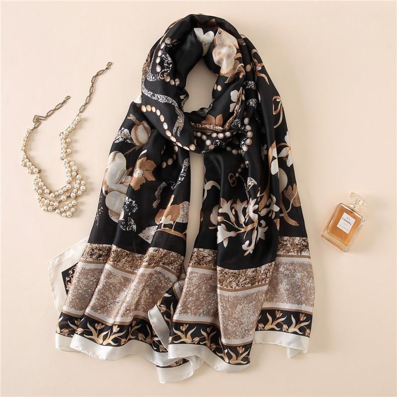 Роскошный шелковый шарф Для женщин дизайнер турецкий натуральные шелковые  шарфы шаль Летняя мода длинные пляж прикрыть Новый Oversize 180 см SFN311  купить ... c87c73efb21