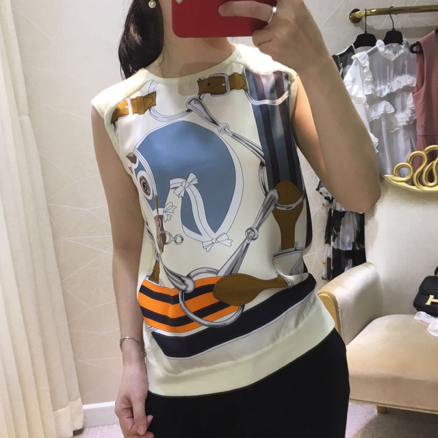 2017 summer new tops women prints silk cashmere knitted vest tops