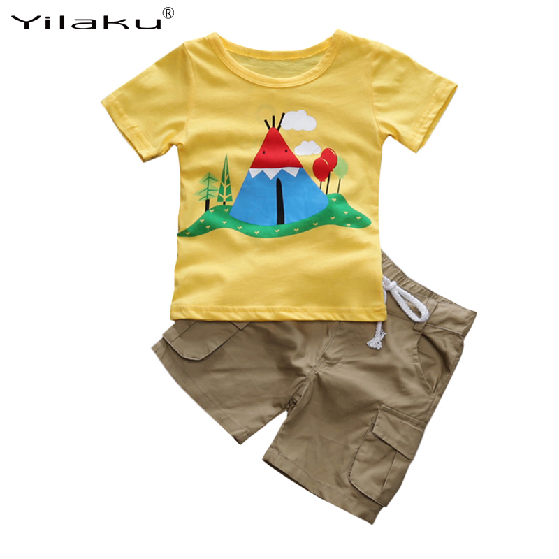 Yilaku Brand Boy Clothing Set Toddler Boys Clothes Summer Kids Costume Children's Suits Printed Boys Tops+Shorts Tracksuit CF526