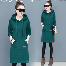 YICIYA new year dress women hooded sweatshirt cashmere pocket plus size large robe dresses winter thick warm green clothing