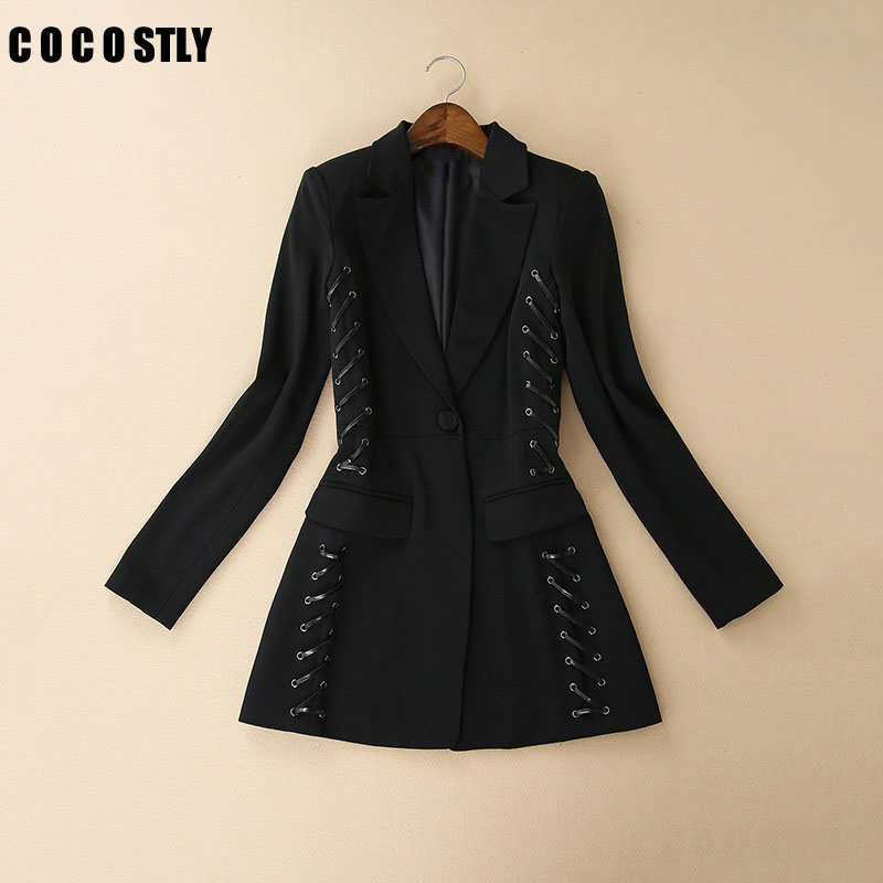 Fashion Bandage Blazer Women Clothing European Eyelet String Design Black Long Blazer Outerwear Coat OL Office Blazers