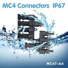 1Pair PowMr Connectors IP67 Waterproof MC4 Male Female Solar Panel Cable Connector MC4T-A4