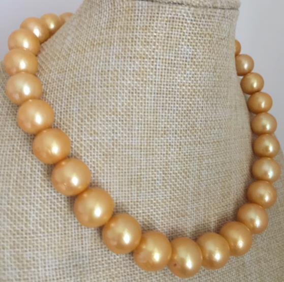 huge13-15mm freshwater round gold pearl necklace 18inch 925silverhuge13-15mm freshwater round gold pearl necklace 18inch 925silver