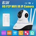 BW Безопасности CCTV 3.6 мм Беспроводной Wi-Fi HD 720 P Купольная Камера P2P Onvif Ик-cut Ночного Видения Видеокамеры Видеорегистратор для Android IOS