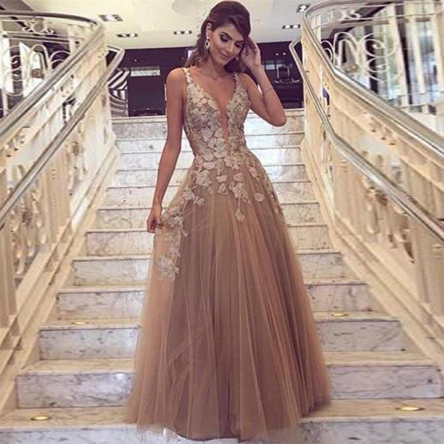 Spaghetti Straps Dark Golden 3D Flowers Appliques A-line   Prom     Dresses   Open Back Long Evening   Dress   vestidos de fiesta