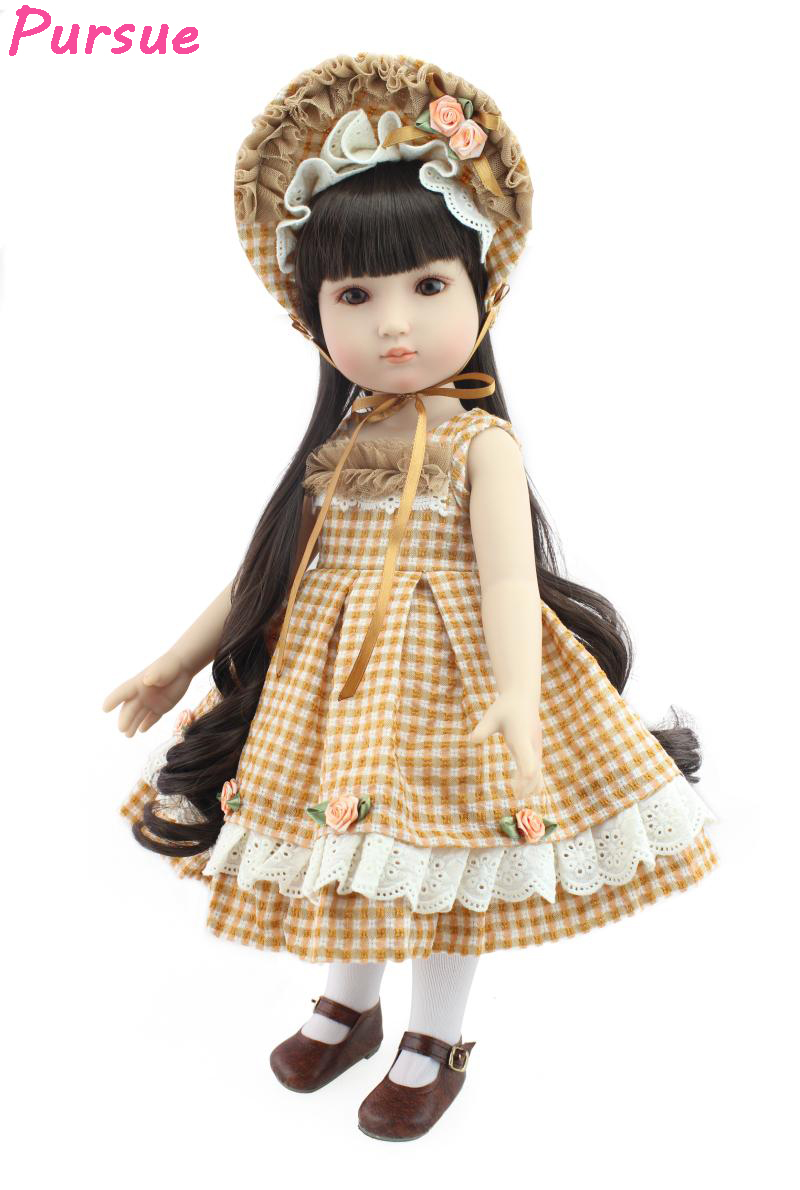 Pursue Beautiful Dress 18 Vinyl BJD Girl Doll Baby Face American Girl Doll Mini Plastic Baby Dolls for Girls American-girl-doll american girl doll clothes halloween witch dress cosplay costume for 16 18 inches doll alexander dress doll accessories x 68