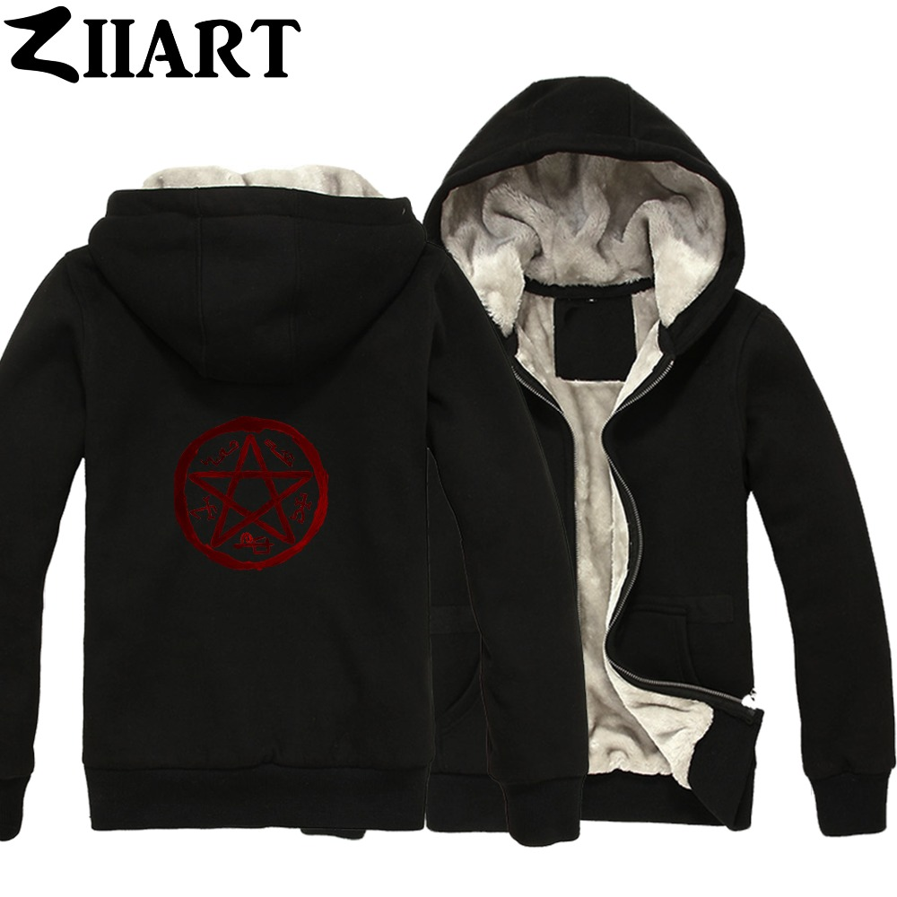 Supernatural Demon Symbols Devil's Trap Symbol Couple Clothes Boys Man Male Full Zip Autumn Winter Plus Velvet   Parkas   ZIIART