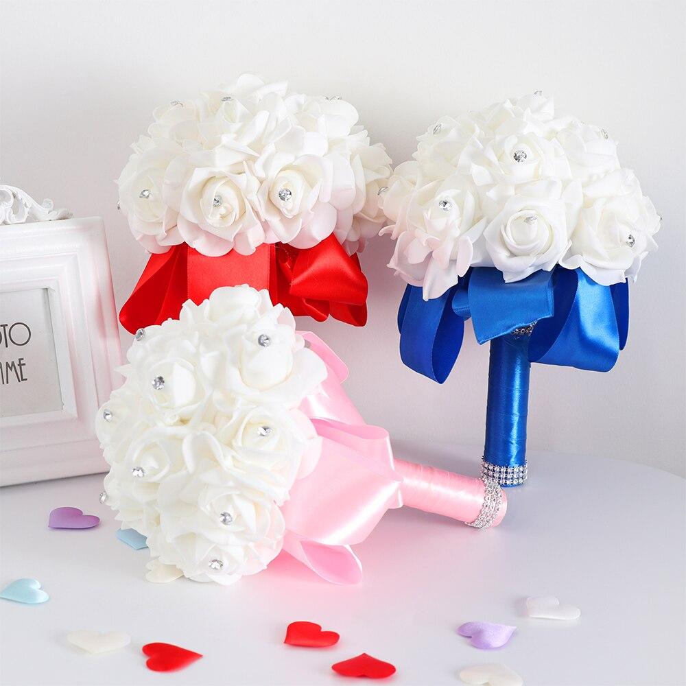 1 Set Handarbeit Schaum Künstliche Rose Seide Bouquet Für Brautjungfer Hochzeit Blume Dekorationen Schöne Mode Blume Zubehör