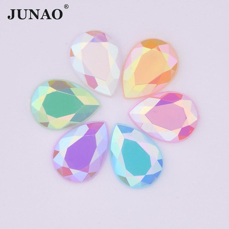 JUNAO 10*14mm 13*18mm Mix Farbe AB Kristalle Drop Strass Applique Flatback Acryl Strass Steine nicht Nähen Sammelalbum Perlen