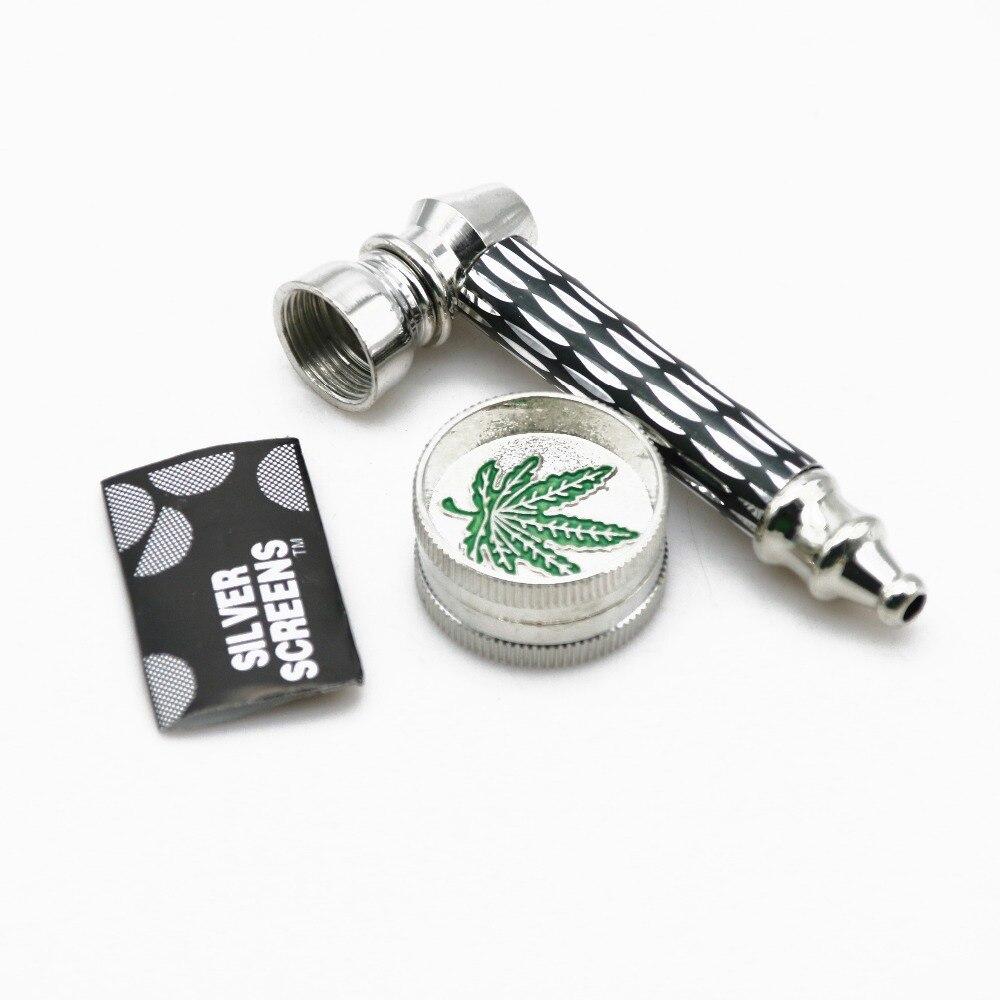 1 Set Smoking Pipe + Mini 2 Layer Metal Alloy Herb Grinder & Screen Tobacco Herbal Pipe  ...