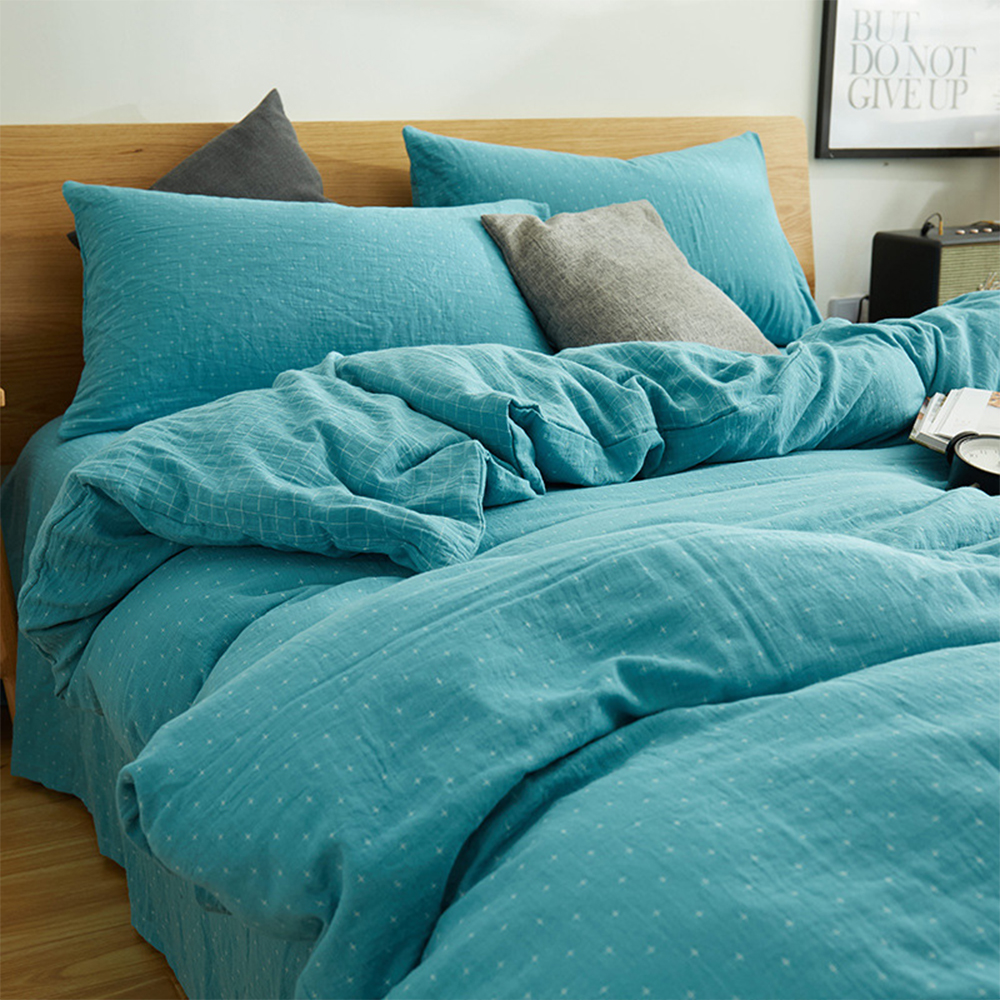 Japanese style cross geometric print washed cotton bedding ...