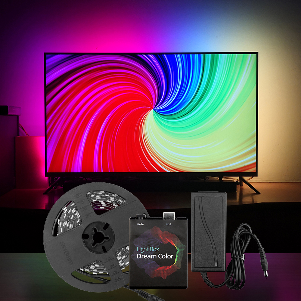 <font><b>RGB</b></font> USB LED Strip Light <font><b>5050</b></font> HDTV TV Monitor Desktop PC Screen Backlight Lighting Ambilight -TV <font><b>WS2812b</b></font> Digital Tape Ribbon 1~5M image