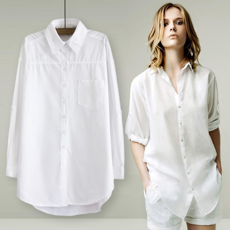 100% Cotton 2019 Spring Summer Women Long White Shirt Long-sleeved Cotton Loose Sexy Club Blouse Lady Female Clothing Tops 0.24