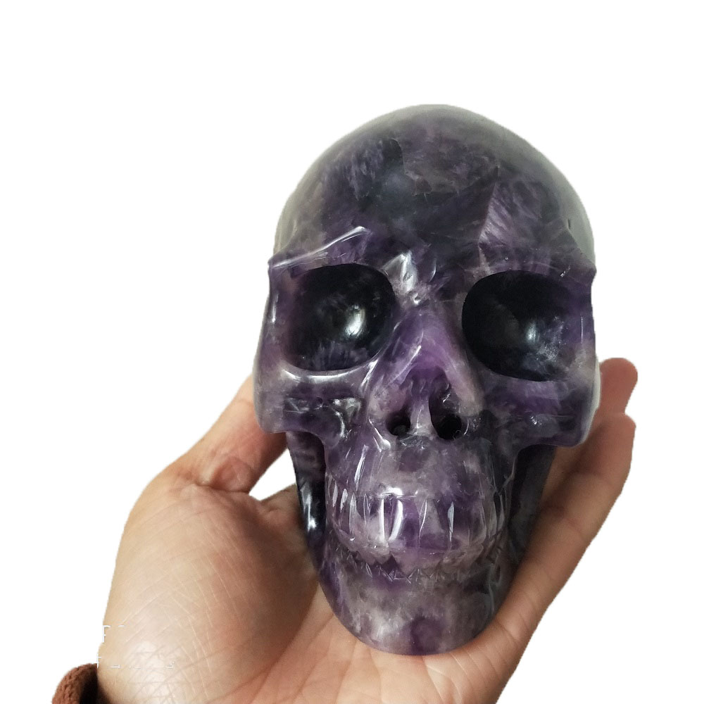 Natural Amethyst Carving Crystal Skull Fengshui healing Energy Stone Home Ornament you receive will be the same as the picture
