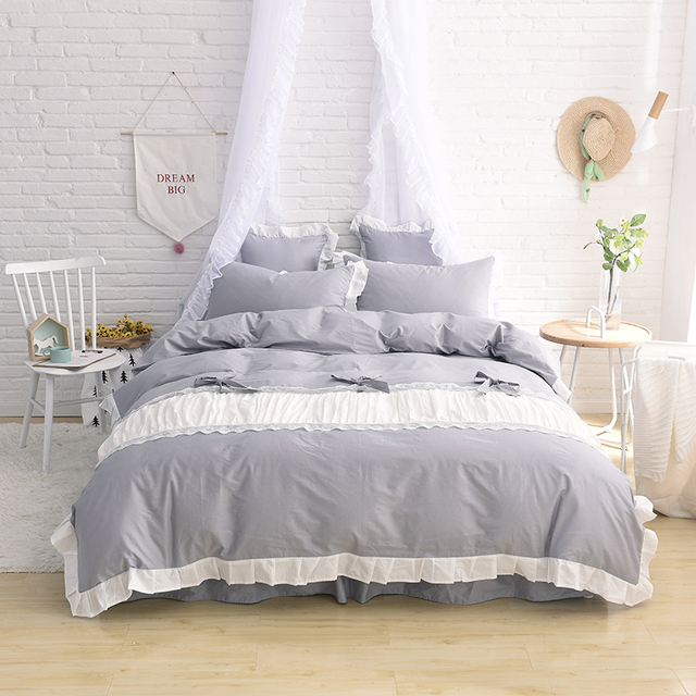 Princess Style Bedding Set Gray Bed Sheets White Duvet Cover Comforter Sets  Custom Size Twin Queen
