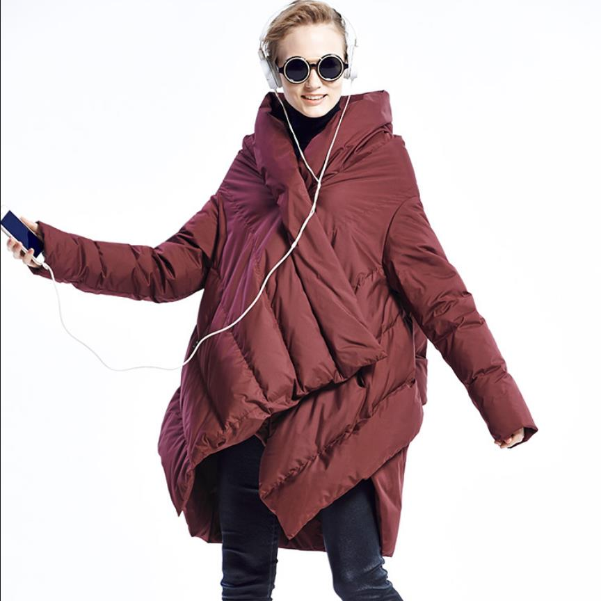Winter fashion brand Asymmetric Length over the knee longer real duck   down     coat   female Cloak styke design warm   down   parkas wq638