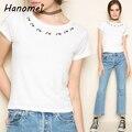 Harajuku Rosa Bordado Cuello Redondo Camiseta Para Mujer 2017 Delgado Mini Tee Femme Mujeres Blusa Entallada de Manga Corta Blanca Camiseta C439