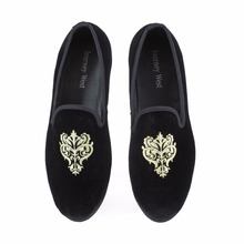 Buy New 2014 Fashion Men's Flats Vintage Men Loafers Classic Velvet Embroidery Shoes British Mens Slippers Brand Party Shoes Black directly from merchant!