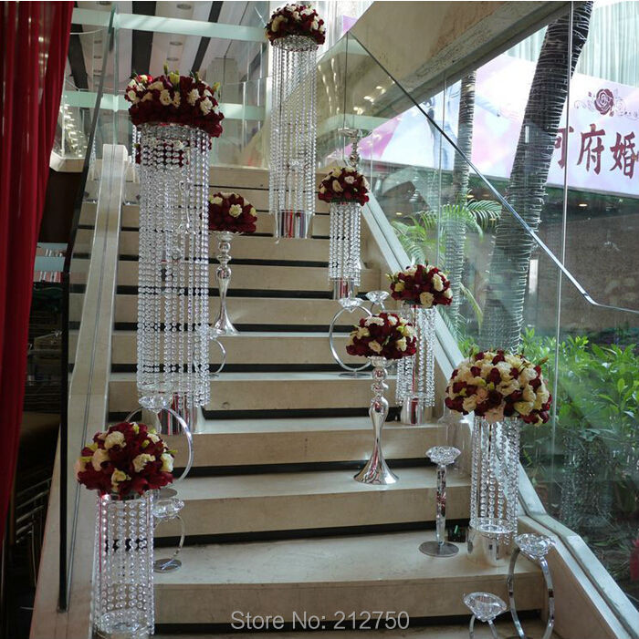 1 Meter 394inch Long Acrylic Crystal Beads Wedding Supplies String Centerpieces Decoration In Party DIY Decorations From Home Garden On