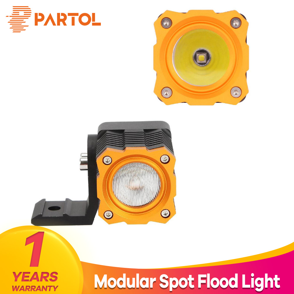 Partol 10W Work Light 12V 24V 1000LM LED Light Bar Spot Flood Beam Offroad 4WD 4x4 Modular LED Bar for Pickup Camper Trailer 10w led 60 degrees flood beam work light w cree xml t6 10 30v