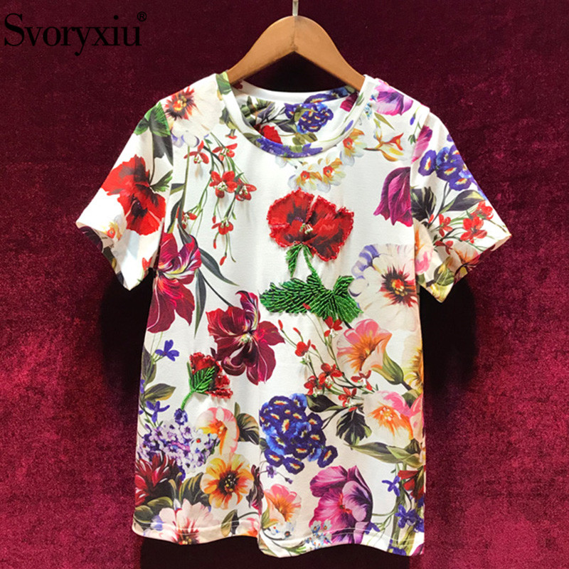 Svoryxiu 2019 New Women's Summer Flower Print Short Sleeve T Shirts Fashion Casual Beading Designer Tops Tees Female