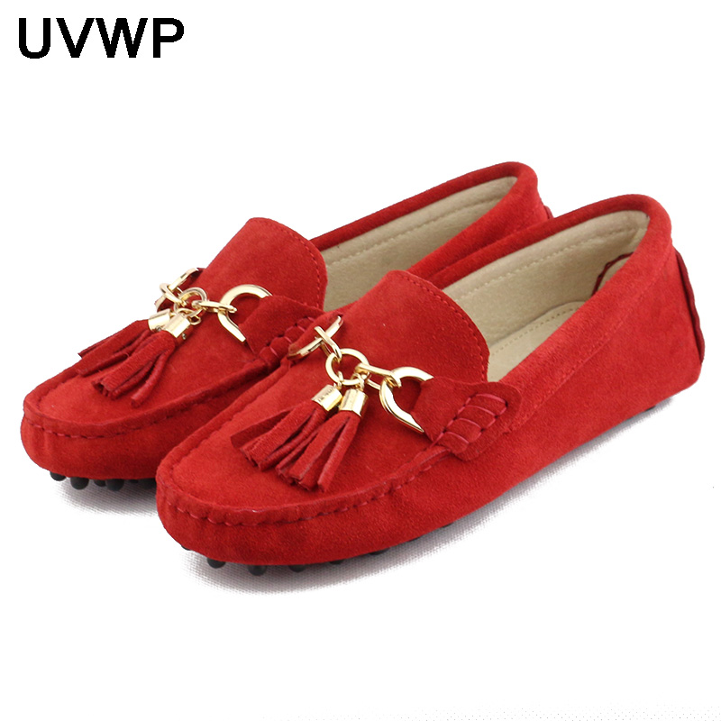 Casual Shoes Loafers Flats Handmade Genuine-Leather Women