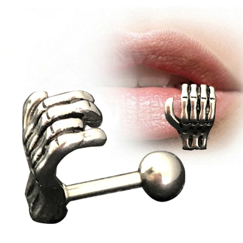 Fashion New 1pc Punk Stainless Steel Vintage Skull Paws Lip Stud Piercing Body Jewelry Cartilage Piercings Body Jewelry