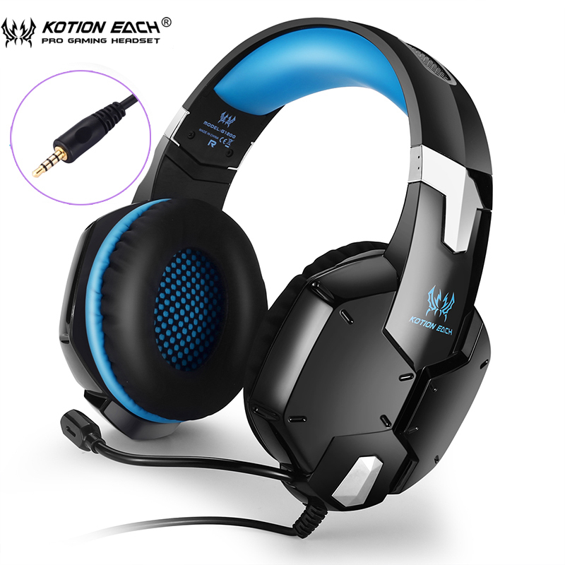 KOTION EACH G1200 Professional Gaming Headset Headphones with Mic 3.5mm plug Stereo Bass Headband Noise Cancelling for laptop insermore active noise cancelling headphones wired bass stereo surround headset with mic flight headband for iphone xiaomi iq 3