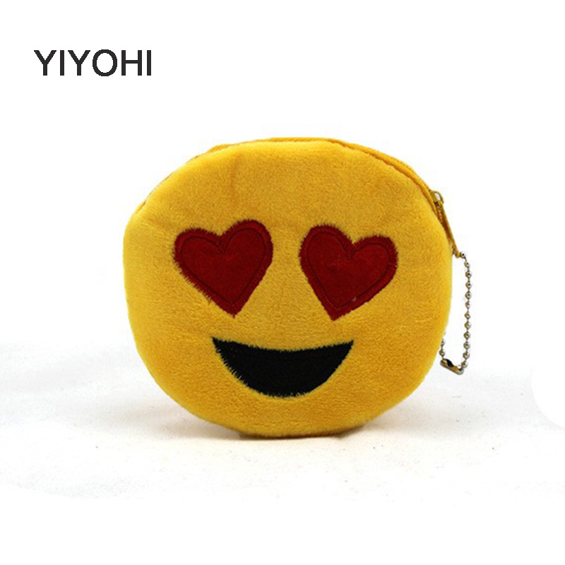 YIYOHI New Cute Style Novelty Emoji Smile Zipper Plush Coin Purse Kawaii Children Bag Women Wallets Mini Change Pouch Bolsa new 2016 cartoon cute minions dave bob plush coin change purse zipper mini children bag women wallets girl for christmas gift