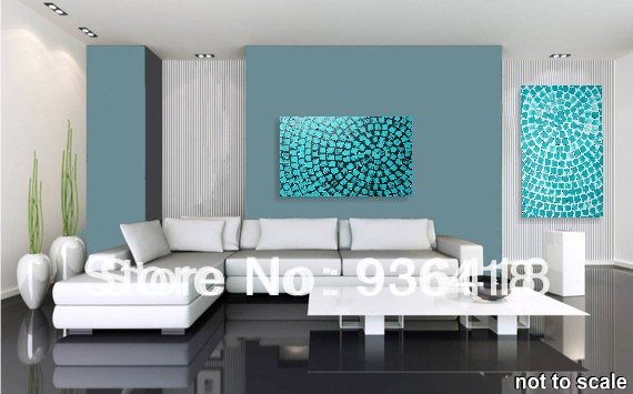 Custom Turquoise Wall Art Deco Abstract Modern Acrylic Painting Textured  Black Squares Home Decoration Wall Art Wall Hanging Art In Painting U0026  Calligraphy ...