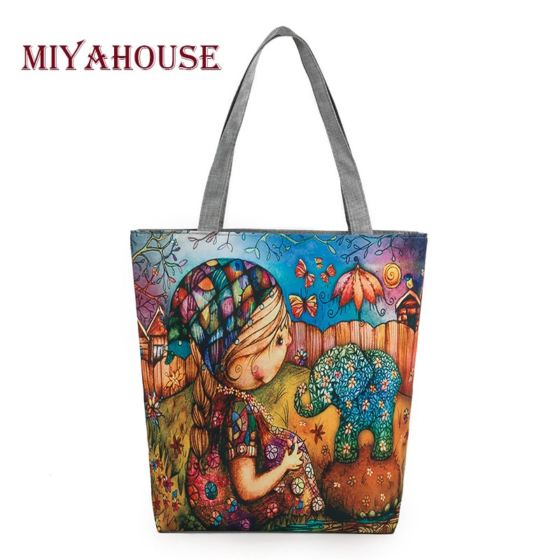 Miyahouse Character Design Canvas Bag Women Girl And Elephant Printed Shoulder bag Female Daily Use Ladies Tote Bags stylish women s shoulder bag with buckle and canvas design