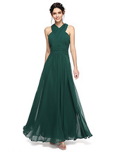 2017 New Design Long Bridesmaid Dresses Cheap Green Halter Criss Cross Back Wedding Party Dresses Custom Made vestidos de noiva