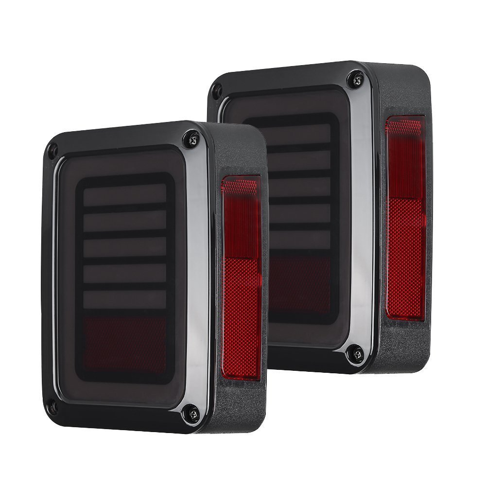 LED Tail Lights Smoke Lens For Jeep Wrangler 2007-2017 JK JKU With Break Back Up Light Reverse Turn Parking Signal Lamp Assembly auxmart 22 led light bar 3 row 324w for jeep wrangler jk unlimited jku 07 17 straight 5d 400w led light bar mount brackets