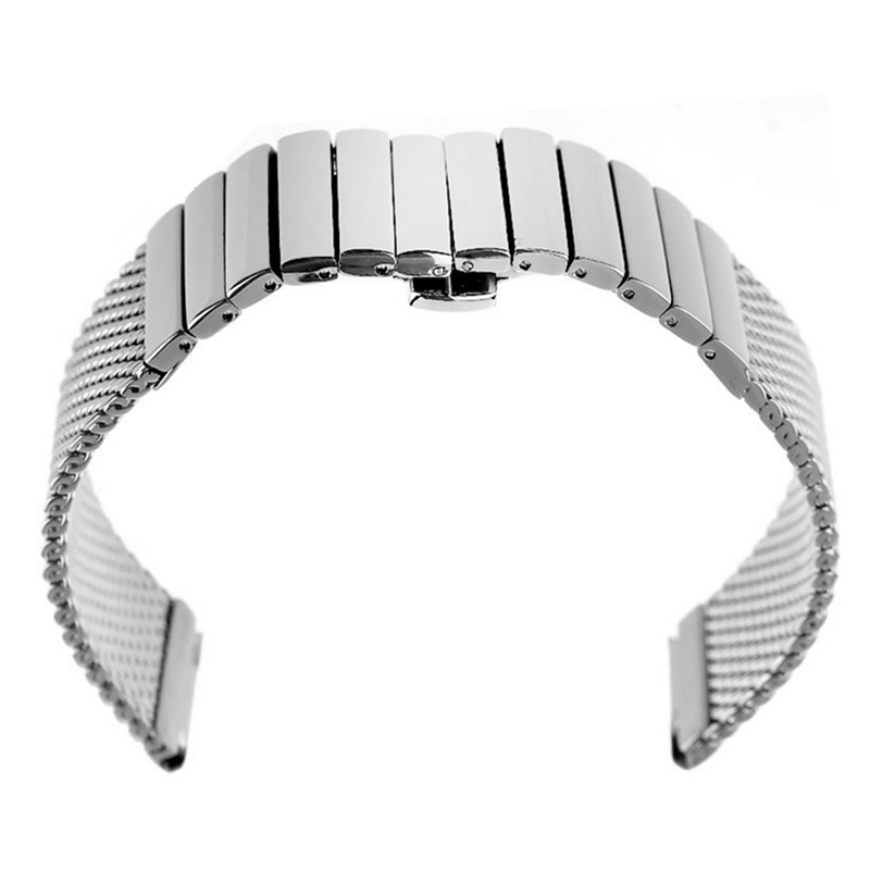Image 5 - 18/20/22/24 mm Wristband Luxury Stainless Steel Strap Polished Silver Milanese Shark Mesh Milanese Band for Men Women Wristwatchmilanese bandshark meshstainless steel strap -