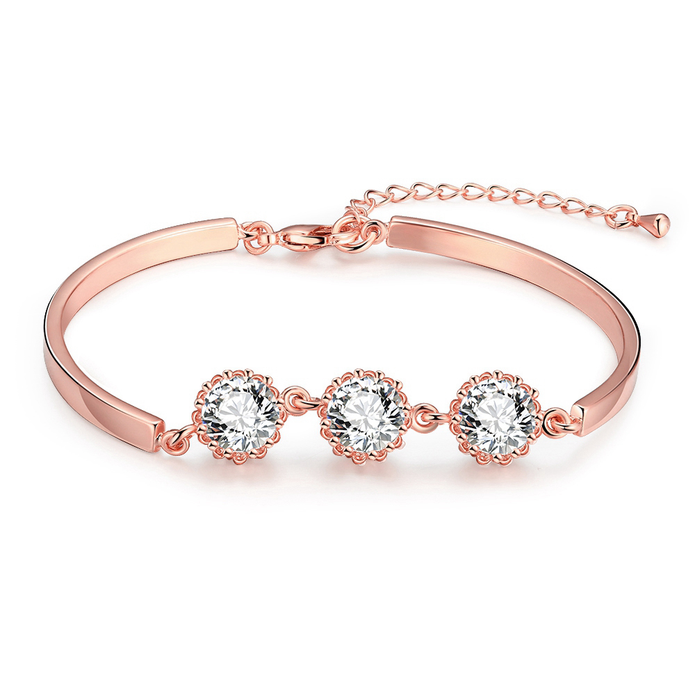 a8889bba454e Ariel 2017 oro rosa pulseras de cadena para las mujeres chica moda nupcial  cristal amante partido ronda cúbicos zirconia fina joyería