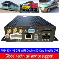 4G GPS WIFI remote monitoring host AHD 4CH 4G GPS WIFI dual SD card mobile DVR truck / train available time and date display