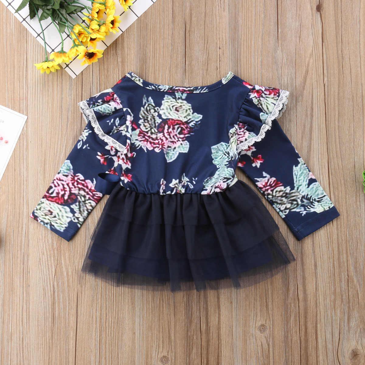 e369cf1ef2b15 Big/Little Sister Matching Dress Newborn Baby Girl Floral Ruffle Long  Sleeve Tulle Dress High Waist Dresses Outfits