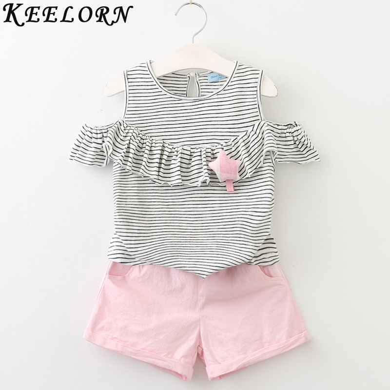 Keelorn Girls Clothing Sets 2017 Summer New Children Clothing Star Brooch Kids Clothes Pullover Grey Stripes Shirt+Pants 2Pcs