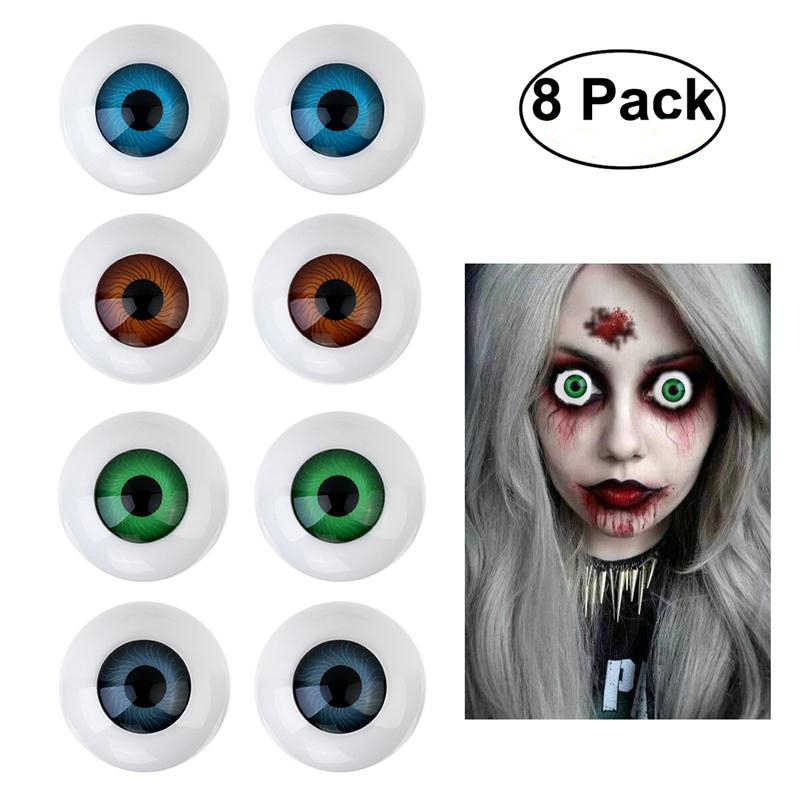8 Hollow Eyeball Mask Halloween Horror Props Costume Plastic Half Round Hollow Eyeballs 25mm For Doll Mask Skull Halloween Prop