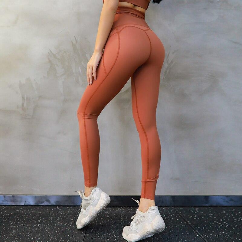 c9561c6846e57 Imlario Solid Squatproof Trainning Workout Leggings Anti-sweat Yoga Workout  Pants High Waist Lemon-yellow Gym Running Tights