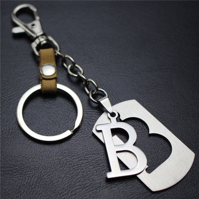 26 Letters Series Capital Letter B Separable Stainless Steel Pendant  Leather Keychain Charm Bag Hang Car Dog Key Chain Gift 3b6b593ab2