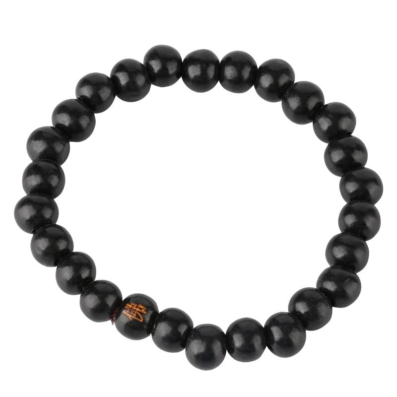 Natural Black Tan Wood Transport Bead Bracelet Men Women Lucky Bracelet Bangle Vintage Strand Bracelet
