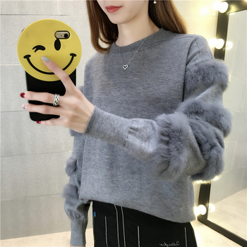 New Spring Autumn Knitting Pullover Sweater for Women Long Sleeve with Fur Female Sweaters Knitted Tops Casual Clothes Korean sweaters modis m182w00296 jumper sweater clothes apparel pullover for female for woman tmallfs
