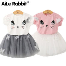 2019 hot girls clothes suit short-sleeved T-shirt skirt 2 piece suit cartoon cat avatar Cute ears For the girl's suit princess(China)